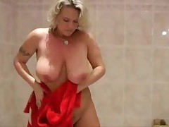 Blonde mature in the shower
