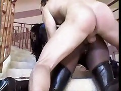 Ebony Goddess in Latex doing two lucky guys