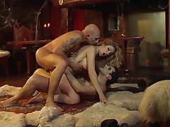Two vampires enjoy hot girl