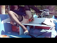 Andrea the boygirl fucked in blue lingerie stockings Dildo