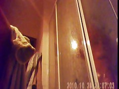 26 yo brunette with big tits caught by spy cam in shower