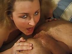 German slut licks guys asshole
