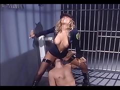 Cissified in uniform and fishnet stockings bonking