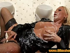 Blonde takes a massive cumload