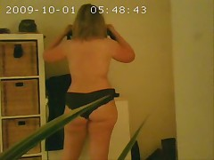My voyeured house wife after shower. hidden cam
