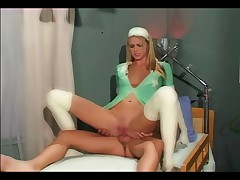 Nurse fucking in latex gloves and stockings