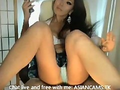 Super hot asian with big boobs stripping and masturbating