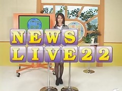 Japanese milf newsreader bukkake show