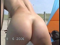 Slut wife rides her lover outside
