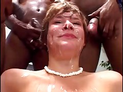 Claire services multiple cocks for a face full of goo