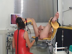 Latex femdom ass exam and cockmilking till cumshot