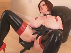 Busty Bitch in Latex with Dildo - by TLH