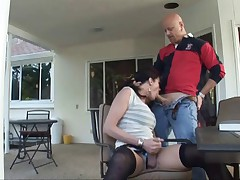 TS Morgan in stockings, fucked