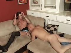 TS Morgan in stockings, fucked