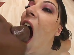 White girl mouth destroyed by big black cocks
