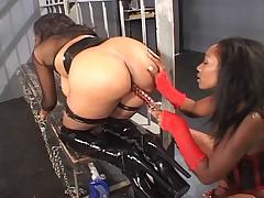 Busty ebony lesbian divas in sexy latex having fun