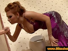Redhead has her dress covered with jizz