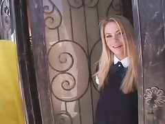 Sinful blonde woman in college uniform