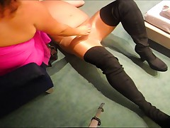 Sjoejob extrem - 20cm hohe High Heels wichsen Transenschwanz