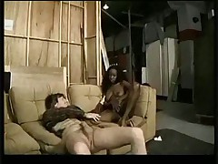 Ebony twins share a white cock and jizz