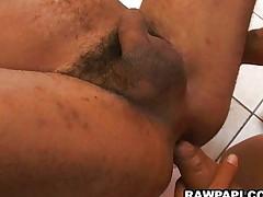 Horny Latino gay barebacking action