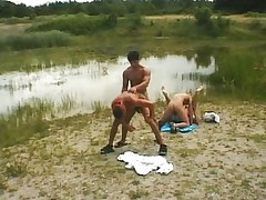 Gay group fuck outdoors