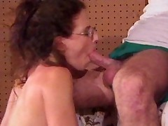 Tiny titted housewife gets both holes stuffed