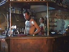 Shemale fucks two guys at the bar