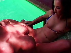 Cool lesbian sex at the pool