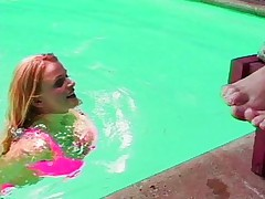 Cool lesbian intercourse at the pool