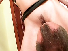Horny blonde in latex treating a dick
