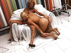 Two ladyboys fuck eachother hard