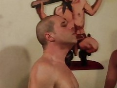 Blond shemale doing two guys