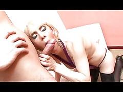 Blond tranny loves cock inside her asshole