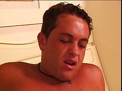 Busty blond shemale makes him cum