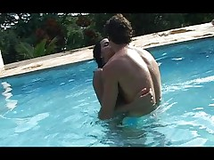 Horny shemale fucked at the poolside