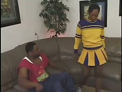 Hairy ebony cheerleader