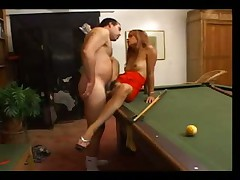 Slim hottie banged on his pool table