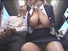 Busty stewardess public handjob in the bus