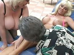Horny hotties enjoying big hard cock