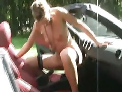 She fucks her car hard and cums