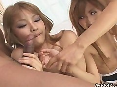 Two hot Japanese babes fucked by horny guys