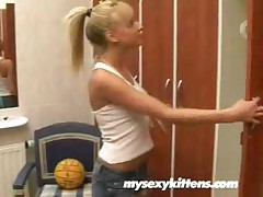 Blonde Girl Bathroom Masturbate