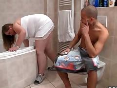 Horny Guy Bangs Bbw In The Bathroom