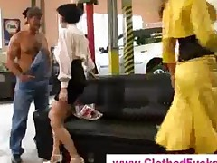 Clothed Babes Suck Car Mechanic