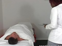 Complaining Patient Is Smothered By Chubby Ebony Doctor