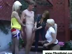 Femdom Cfnm Garden Girls Handjob