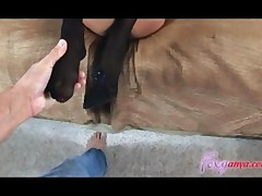 Foxy Anya Uses Her Petite Feet To Give A Great Footjob