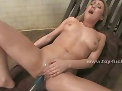 Blonde Slut With Tatoo On Her Back Riding Electric Fucking..