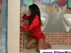 Fake Cock Blowjob At A Gloryhole